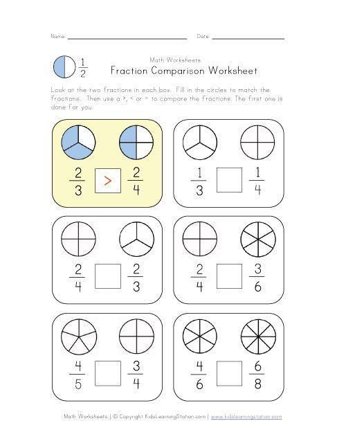 compare fractions worksheet | Homeschool Math | Pinterest ...
