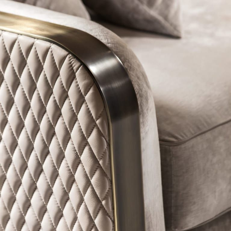 High End Contemporary Italian Designer Quilted Leather Sofa Mobilya