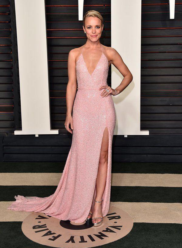 Rachel McAdams wore a light pink #NaeemKhan deep v sequined gown to ...