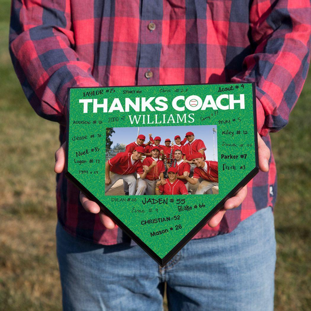 Baseball coach home plate plaque thank you coach photo