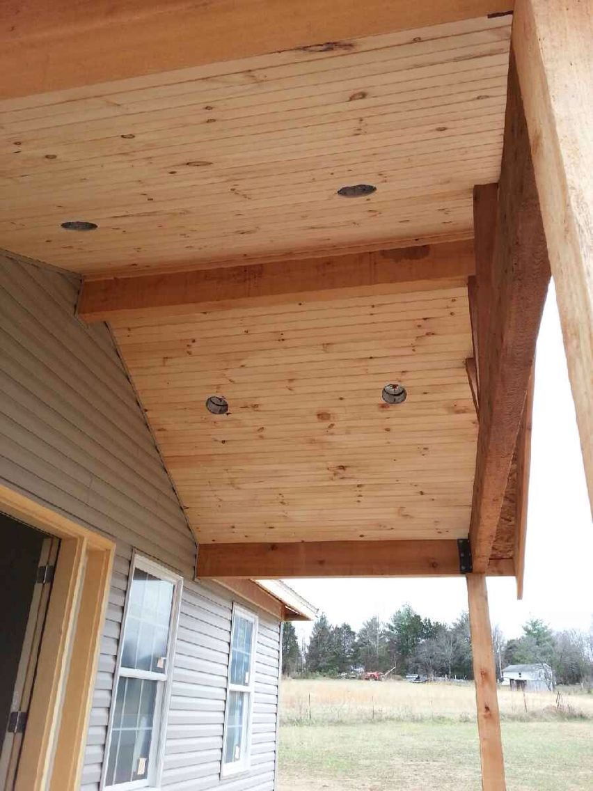 Car Siding Ceiling Open Gable Cedar Front Porch Ournewhome