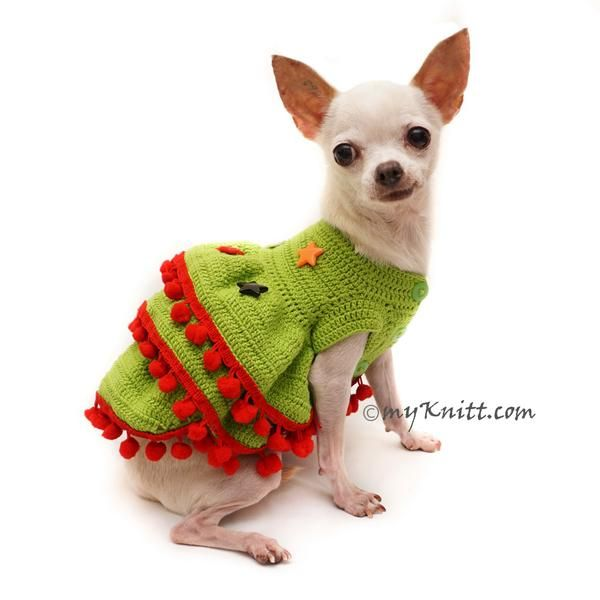 69d8f8fae22a Christmas Ruffle Dog Dress with Stars Applique. Exclusive designed and hand  crocheted by Myknitt Designer Dog Clothes. Any custom dog clothes for  wedding ...