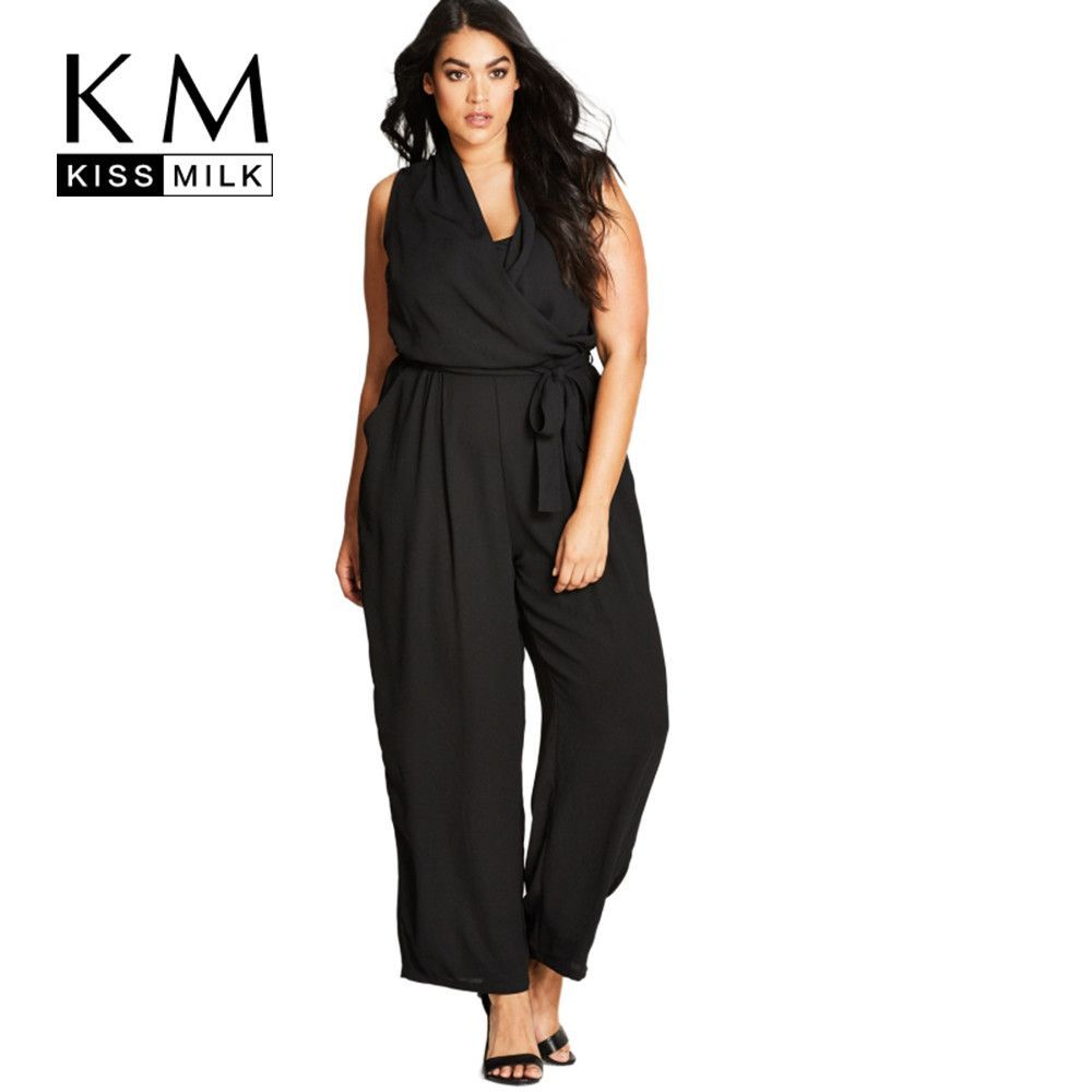 Kissmilk Plus Size New Fashion Women Clothing Elegant V-Neck Long Jumpsuit Basic Solid Romper Big Size Jumpsuit 4XL 5XL 6XL