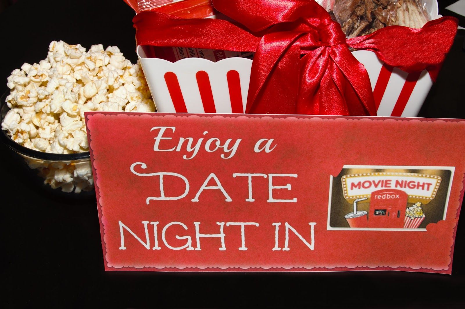 Diy date night in gift basket with redbox movie night