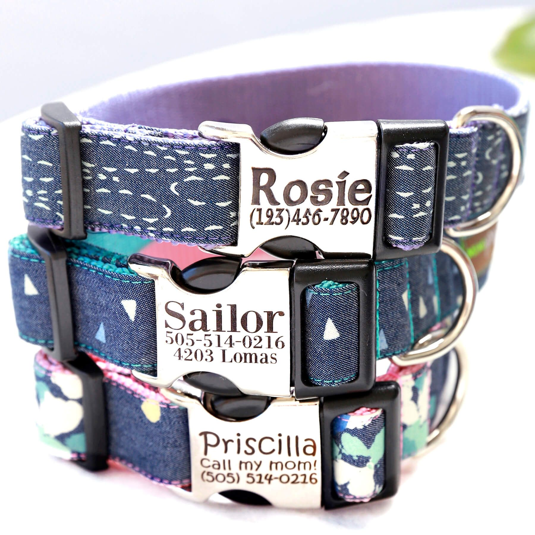 2f9f5530fd42 Denim is always in style. Our personalized denim dog collar is customized  with your choice of webbing color & your dog's most important info engraved  on the ...