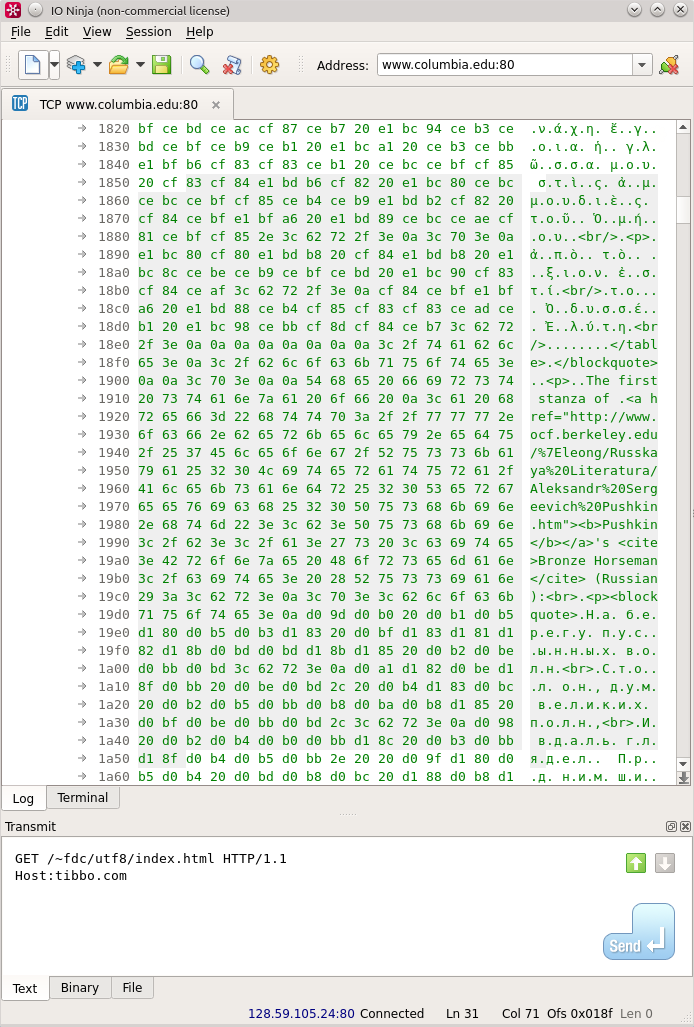 Unicode in log | IO Ninja Terminal/Sniffer | Ninja, System