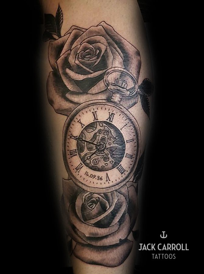 Pocket Watch And Rose Tattoo : pocket, watch, tattoo, Realistic, Black, White, Pocket, Watch, Tattoo., Tattoos,, Sleeve, Tattoos