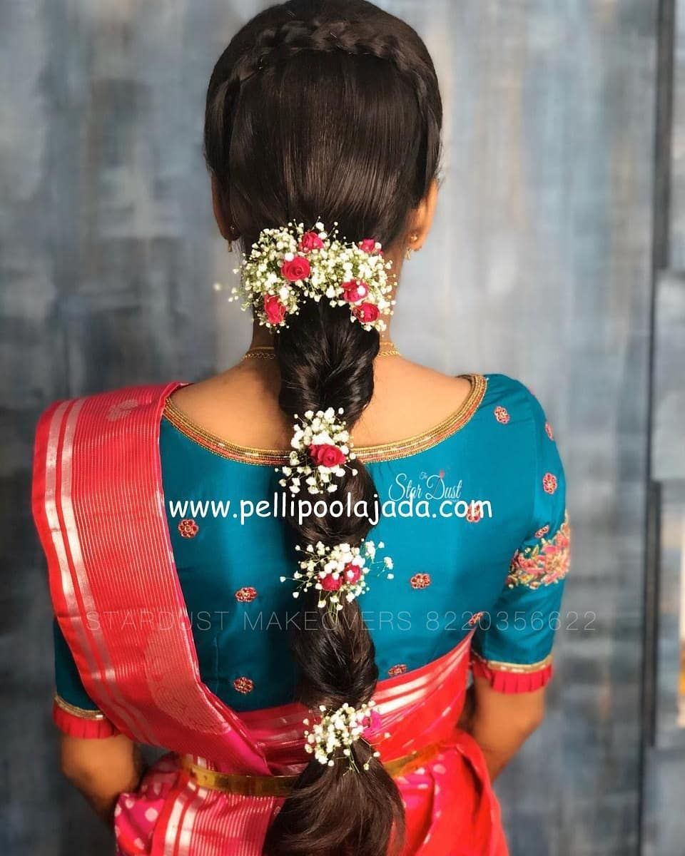 Modern Hairstyle With Matching Flowers Perfectly Arranged By Thestardust Makeovers In 2020 Bridal Hairstyle Indian Wedding Bridal Hair Buns Indian Wedding Hairstyles