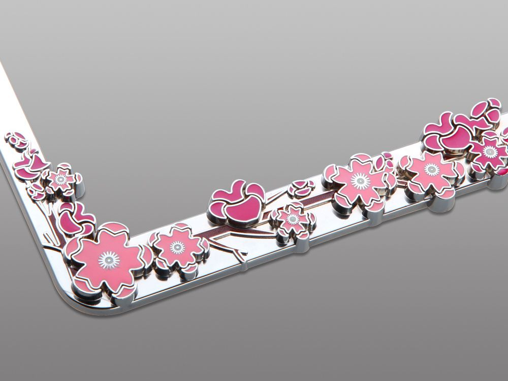 Pink Crystal RhineStone Chrome Metal License Plate Frame BUTTERFLY WITH FLOWERS