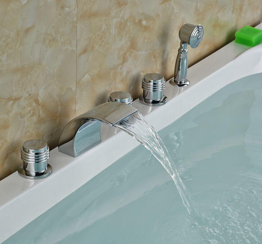 Modern Waterfall Bathroom Tub Faucet 5 Pcs Deck Mounted Sink Mixer Tap W Hand Sprayer Sink Mixer Taps Bathroom Tub Faucet Sink