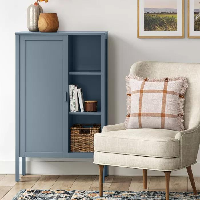 Newberry Accent Cabinet With Hidden Storage Blue Threshold Accent Cabinet Hidden Storage Accent Cabinet Living Room Storage cabinet for living room
