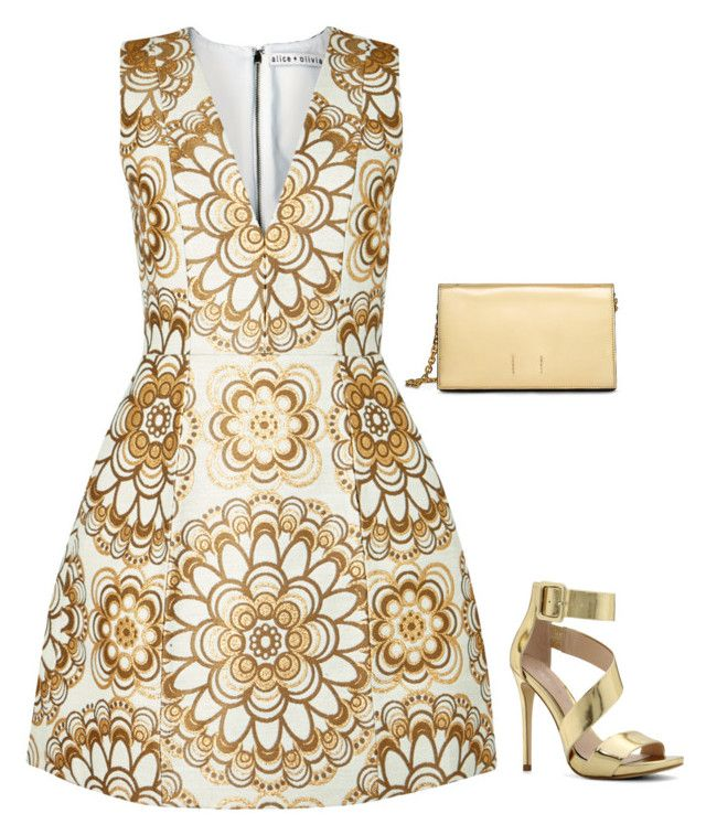 """""""Chic in Gold"""" by charlotte-r-k ❤ liked on Polyvore featuring Alice + Olivia, Calvin Klein and ALDO"""