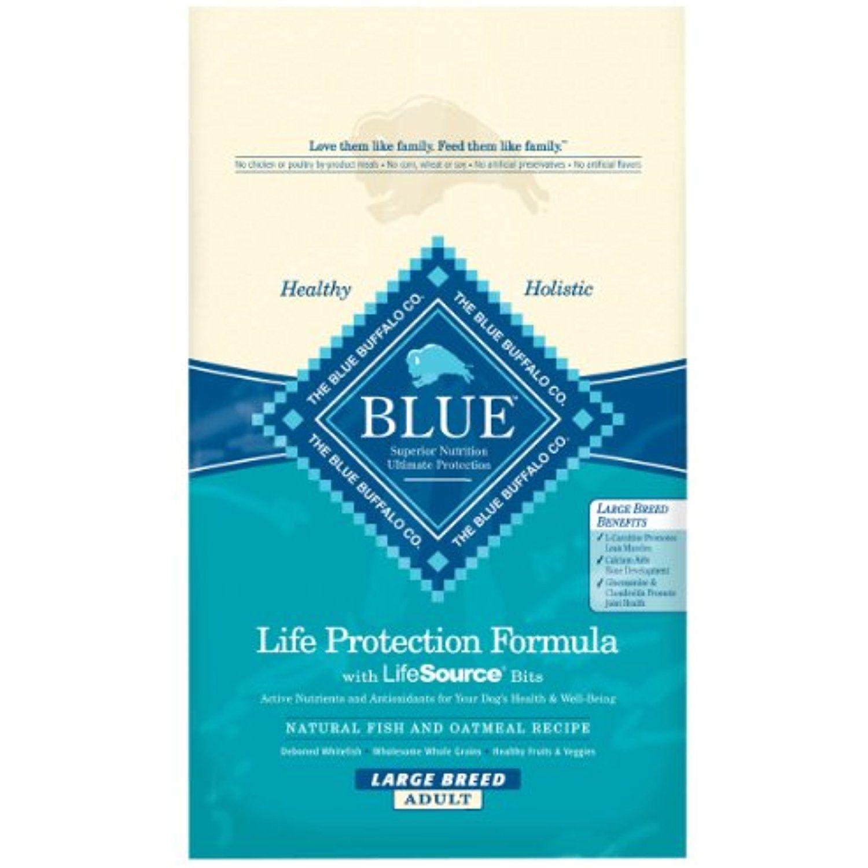 Blue buffalo large breed dog dry food fish and oatmeal