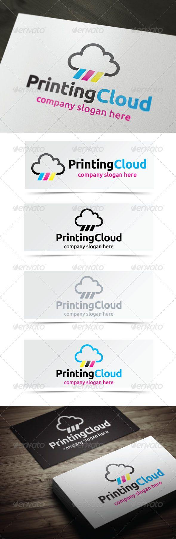 Printing Cloud Logo templates, Vector logo, Logo design