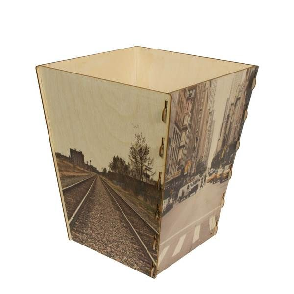 Wooden Wastebasket Wooden Waste Basket Custom Printed  Wood Waste Baltic Birch