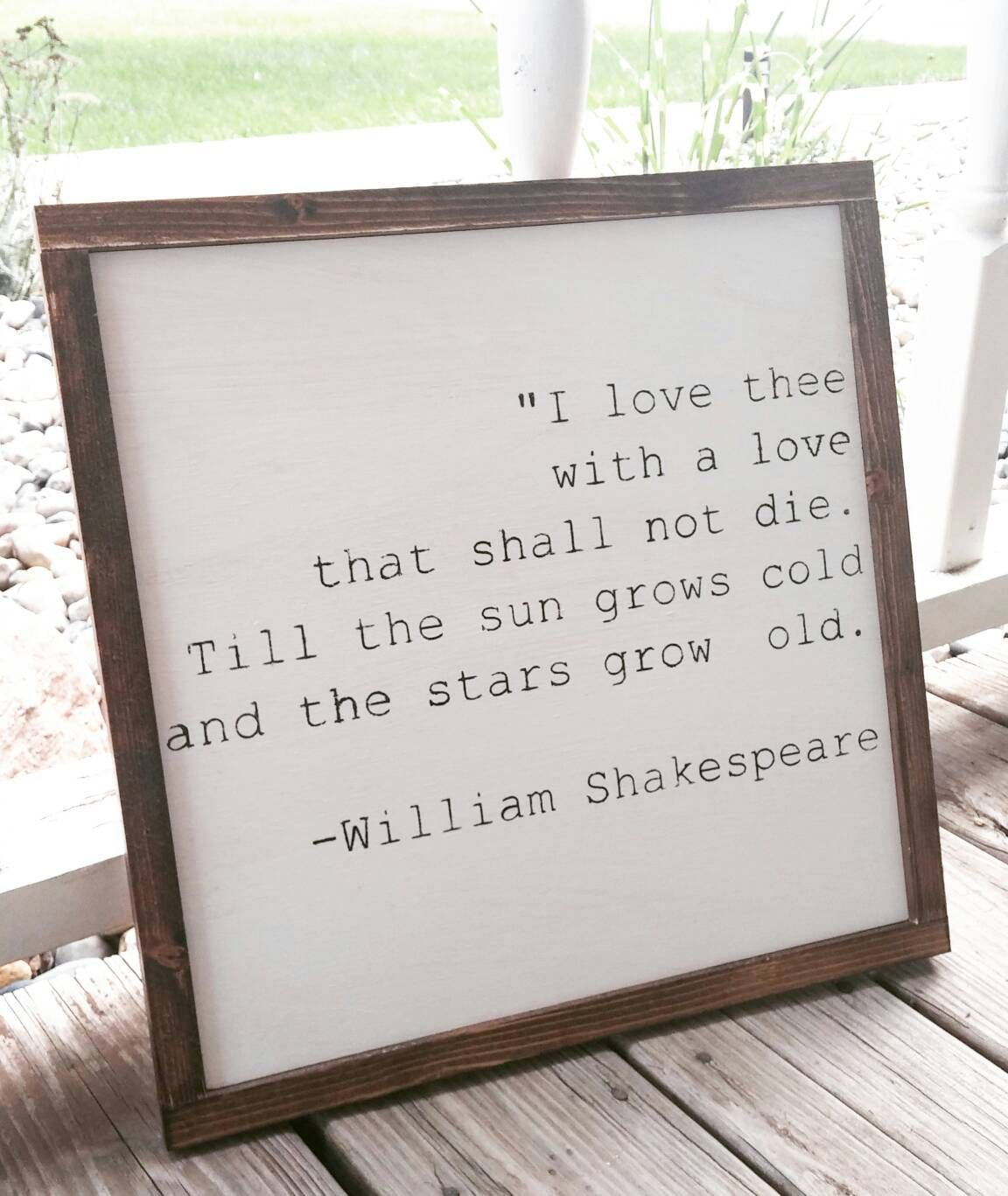Love Decor Signs I Love Thee  William Shakespeare Quote  Book Quote  Rustic Wood