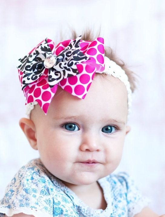 46972dd40407 baby hair bow... pink and black damak ribbon hairbow...infant headband...  great hairbow for newborn