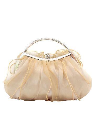 Fantastique sac à main orné de dentelle beige en soie, sac de soirée