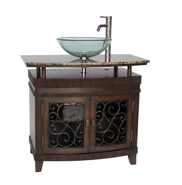 36 Inch Adelina Vessel Sink Bathroom Vanity Mahogany Finish