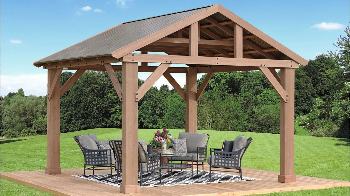14 X 12 Wood Pavilion With Aluminium Roof Yardistry Structures Gazebos Pavilions And Pergolas In 2020 Aluminum Roof Backyard Gazebo Pergola