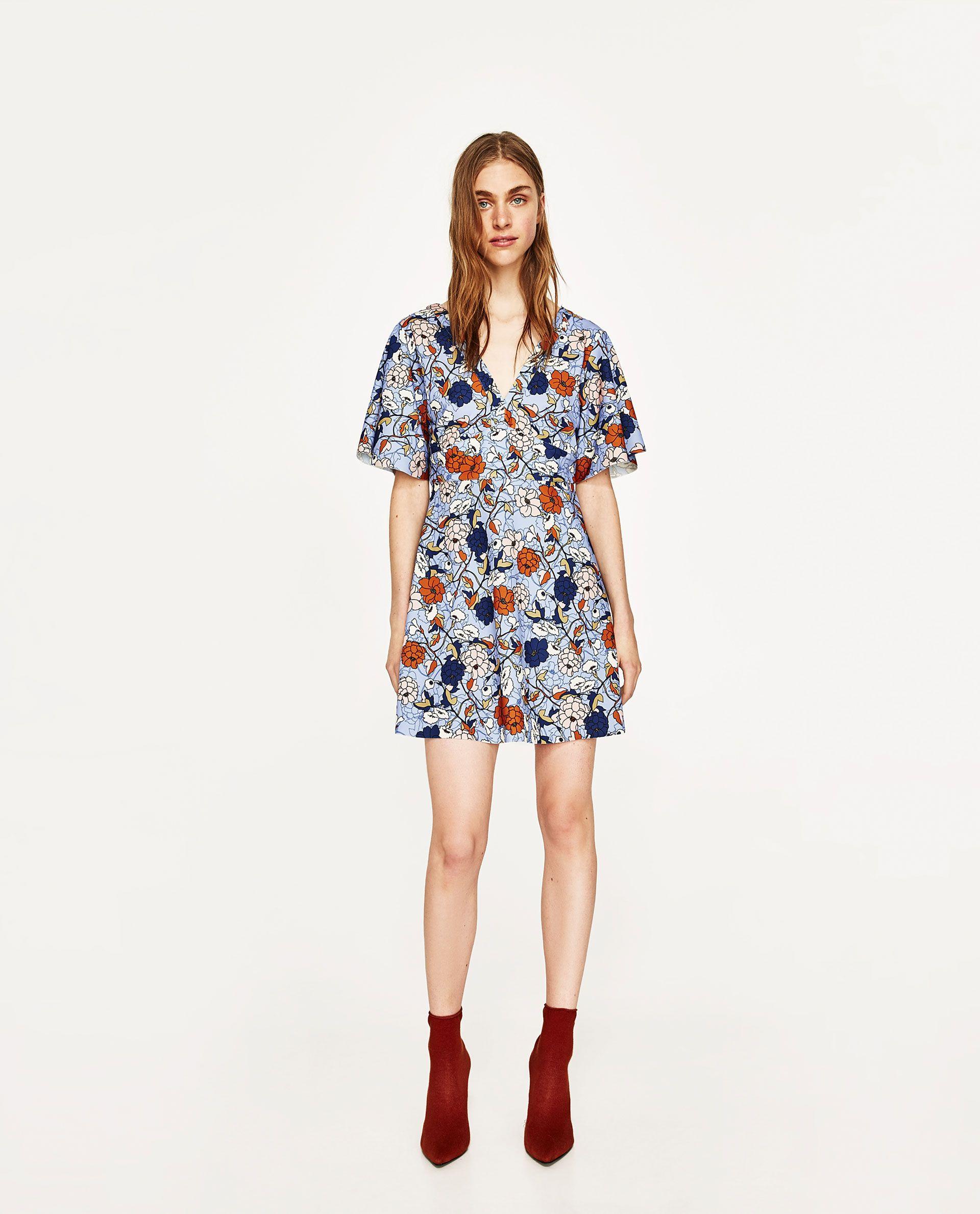 zara - woman - printed dress | sommer kleider, kleidung für