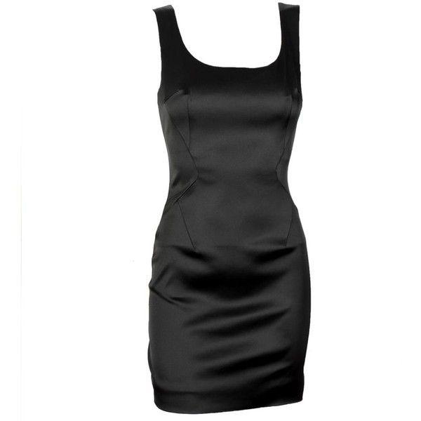 D&G Black Satin Dress (€370) ❤ liked on Polyvore featuring dresses, vestidos, short dresses, haljine, women, zipper mini dress, open back mini dress, short pleated dress, zip dress and pleated mini dress