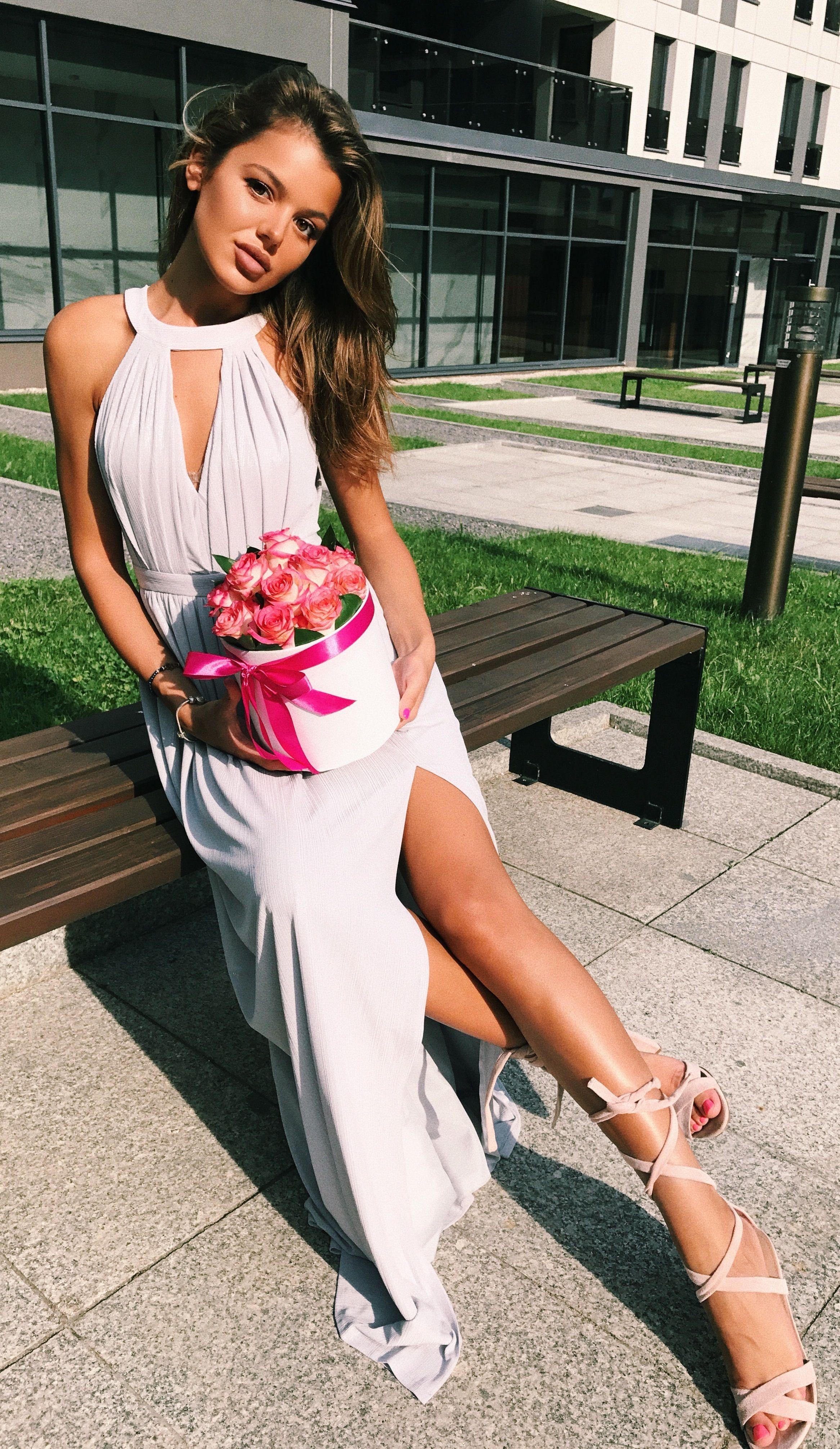 b3fec2dfbf Szara długa sukienka dla świadkowej druhny starszej Maxi grey dress ...
