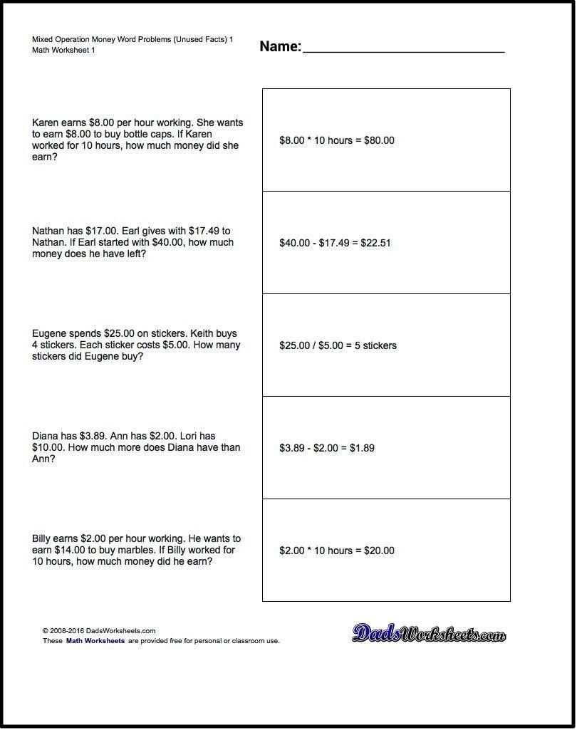 Density Practice Problem Worksheet Money Word Problems Mixed Operation Money Word Problems In 2020 Division Word Problems Math Word Problems Addition Words