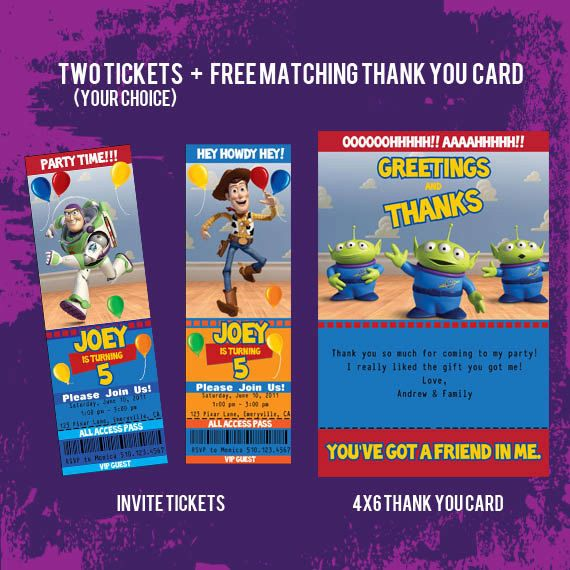 free toy story printables - Bing Images jardin Pinterest - free printable ticket style invitations