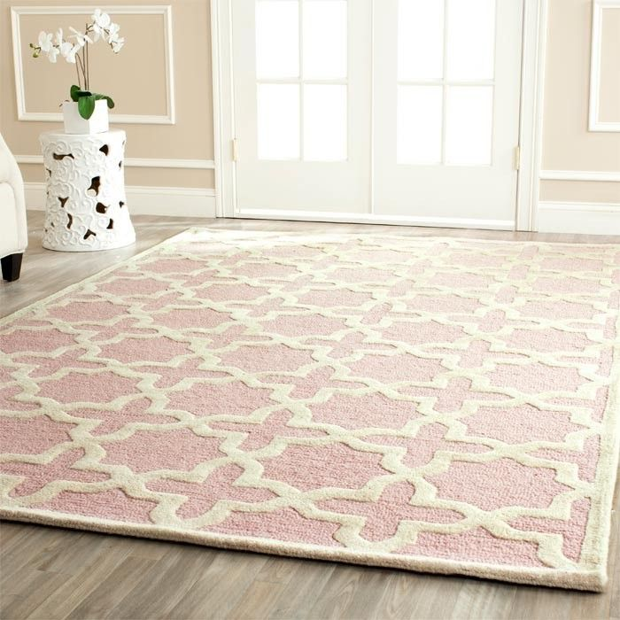 Soft Pink Rug French Inspired On Concrete Floors For The Living Room