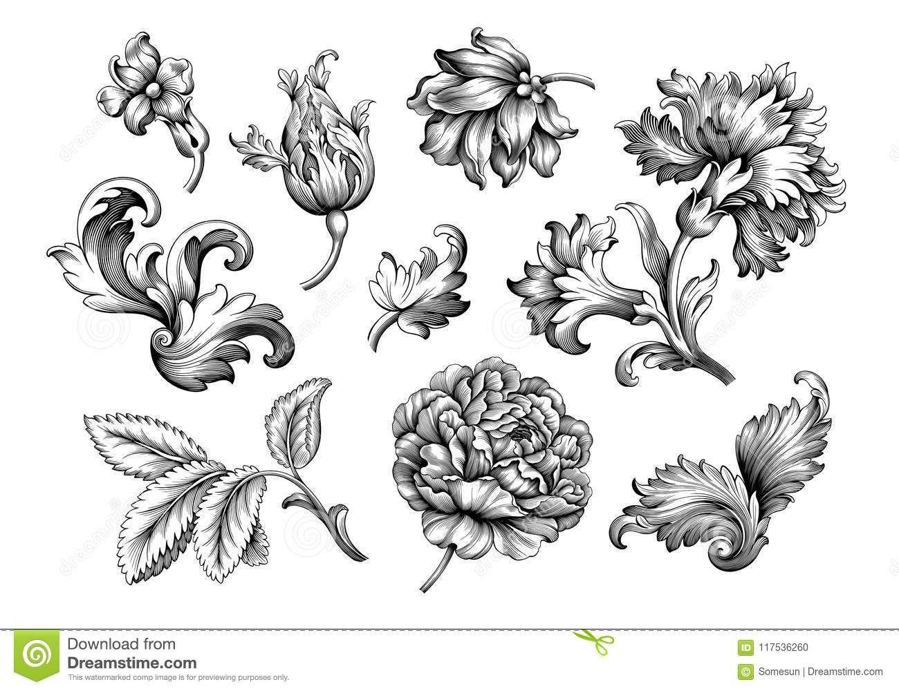 Rose Peony Flower Vintage Baroque Victorian Frame Border Floral Ornament Scroll Engraved Retro Pattern Ta In 2020 Vintage Flower Tattoo Victorian Tattoo Vintage Tattoo
