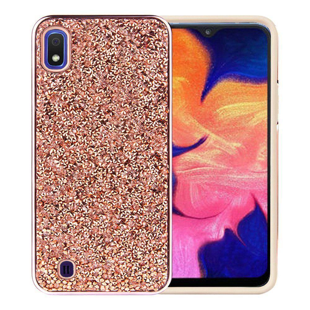 Samsung Galaxy A10e Full Diamond Bumper Hybrid Case With Electroplated Frame Rose Gold Samsung Galaxy Case Galaxy
