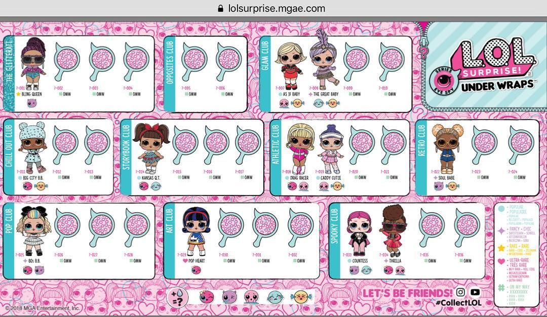 The Lol Series 4 Or Lol Surprise Eye Spy Under Wraps Collector Sheet Is Now Available On Their Official Lolsurprise Lolsurprise Uk Websit Lol Dolls Lol Dolls