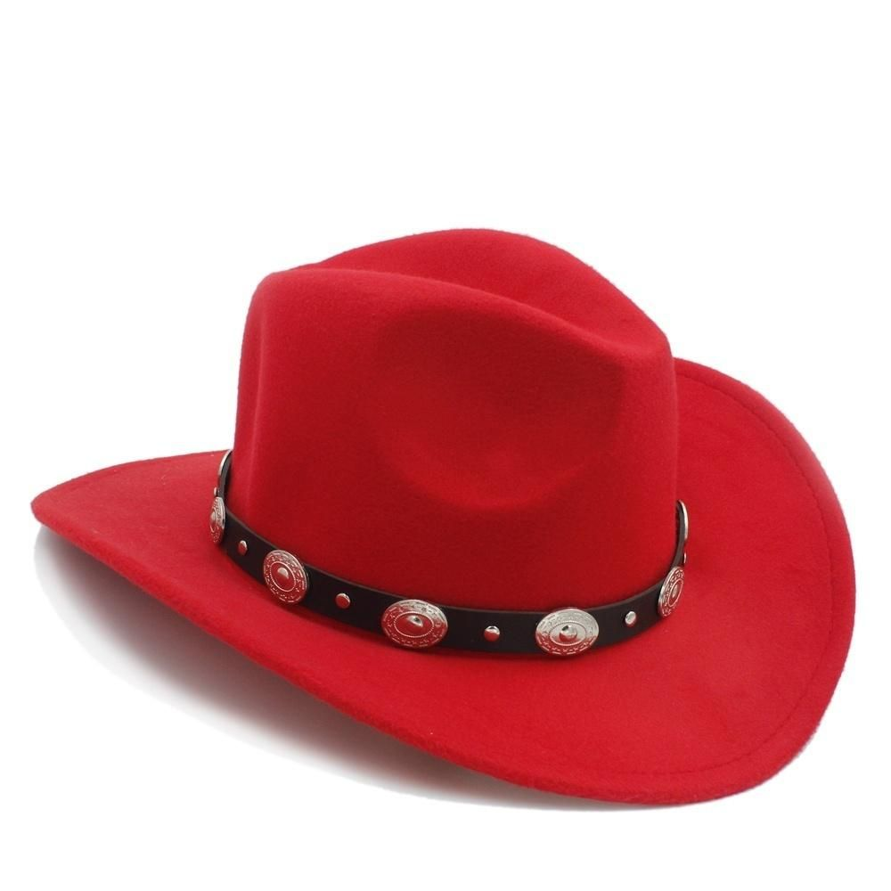 New Vintage Wool Western Cowboy Hat For Womem Men Wide Brim Cowgirl Jazz  Cap With Leather Toca Sombrero Cap 8913eaabd86f