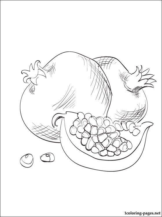 Color this picture of a Pomegranate and others fruits or