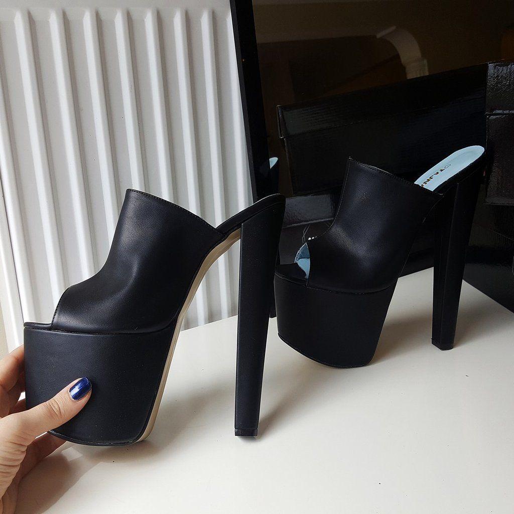 Black Peep Toe 19 cm High Heel Platform Mules