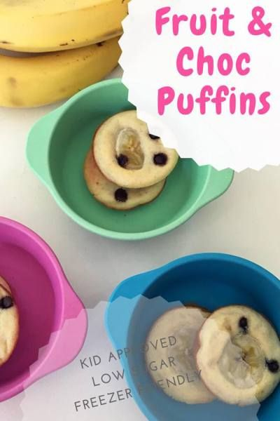 Fruit and Chocolate Puffins, low in sugar, high in fun. Ultimate freezer friendly lunchbox filler.