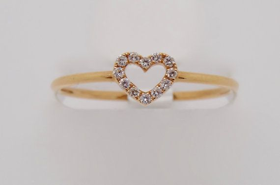 18K Rose Gold Diamond Heart Ring by FehmisCreations on Etsy