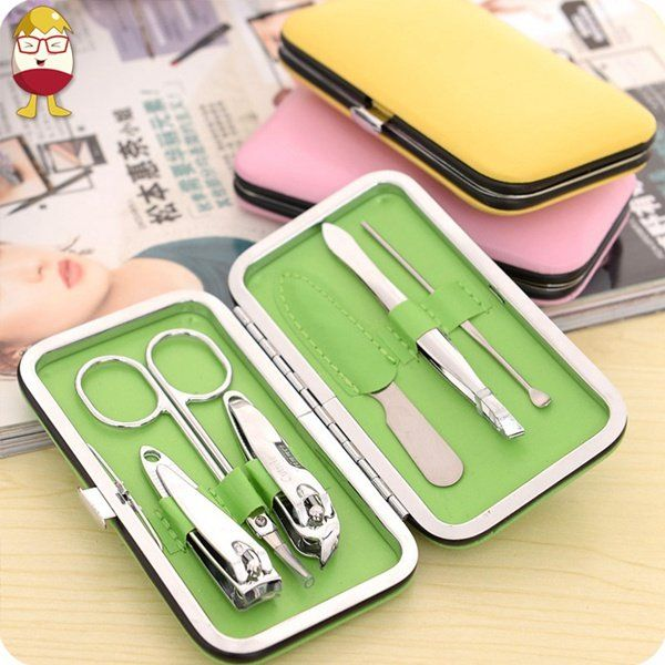7pcs Stainless Steel Manicure Pedicure Ear Pick Nail Clipper File ...