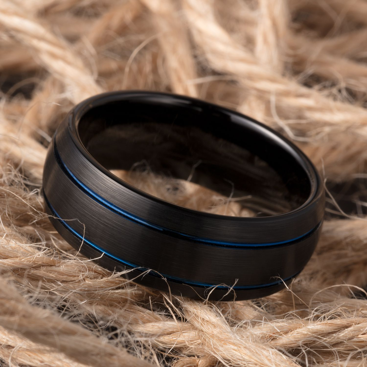 9b321795d4c48 TUSEN JEWELRY 8mm Wedding Band Dark Blue Plated Double Grooved Black ...