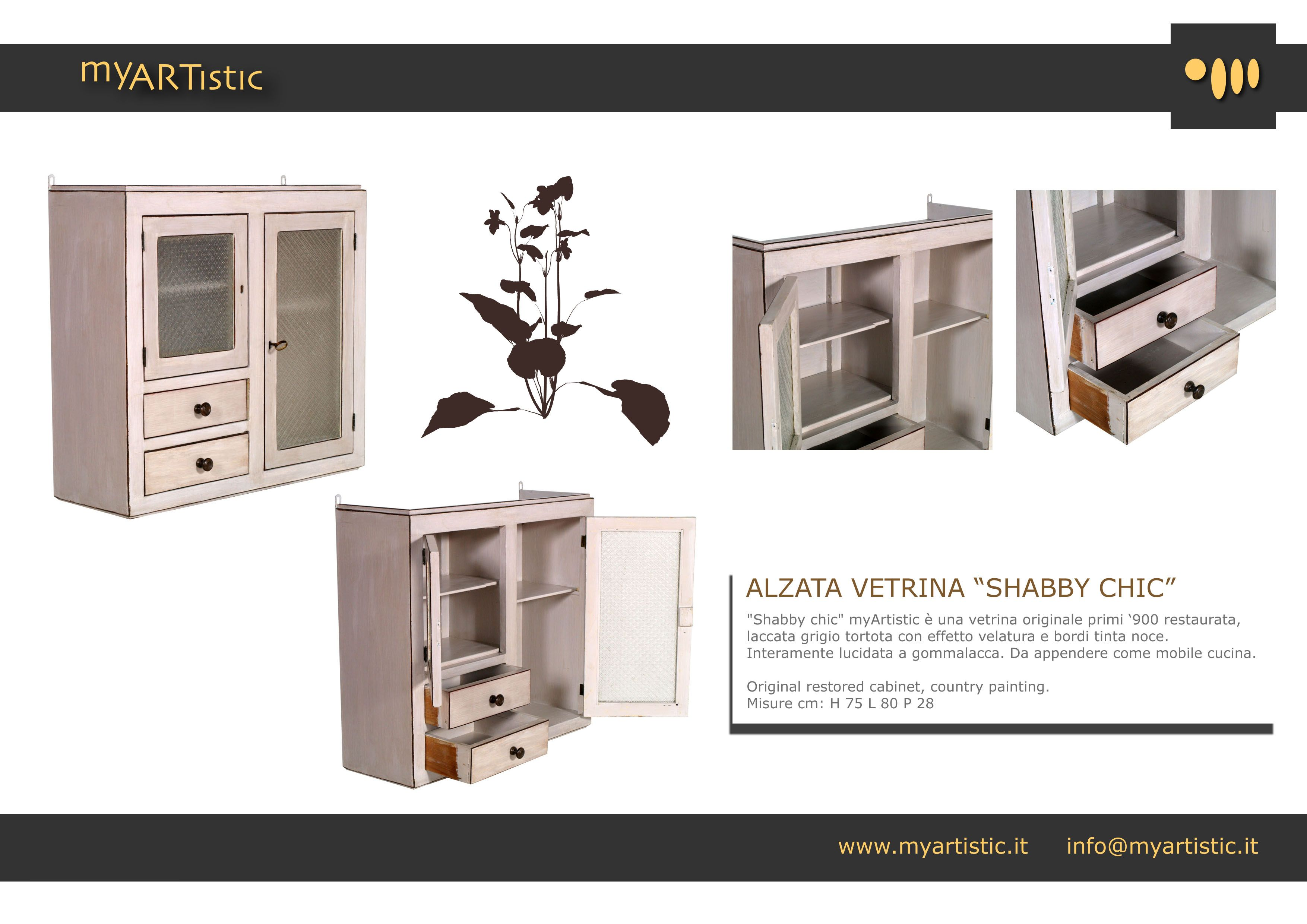 Original restored shabby chic cabinet, with country painting. By atelier myArtistic www.myartistic.it