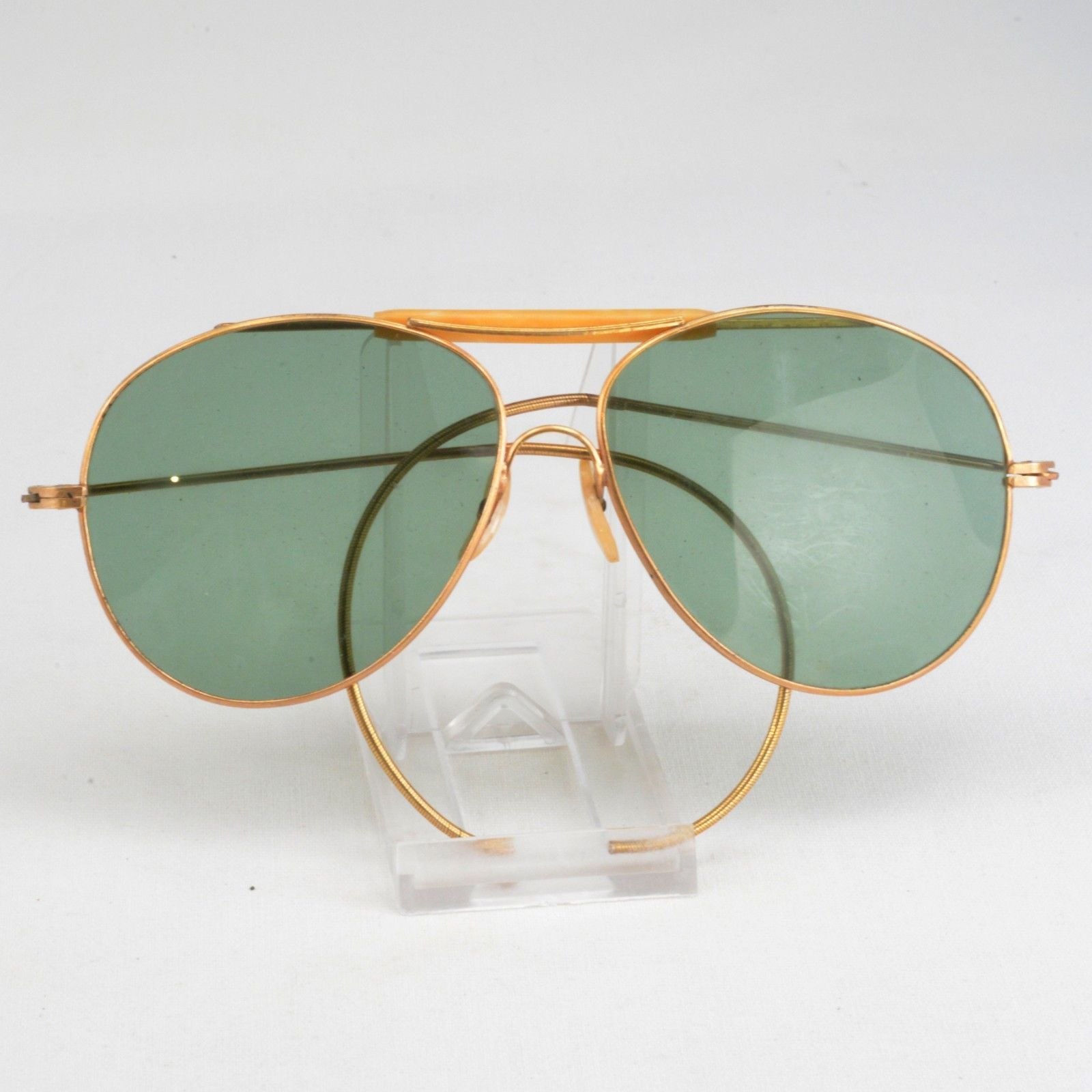 83b3dd94b8 Vintage Goldtone Retro Aviator or Shooting Sunglasses Reto Midcentury ID  942