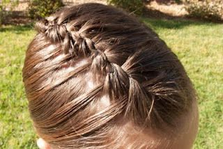 French Waterfall @ Princess Piggies.  A waterfall braid that holds tighter because it's done with a french braid.