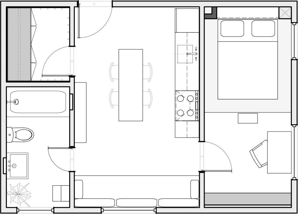 Mini-appartement de 370 pieds carrés à Portland Square feet