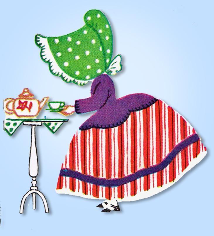 1950s VTG McCall Embroidery Transfer 1558 Uncut Applique Sun Bonnet Tea Towels