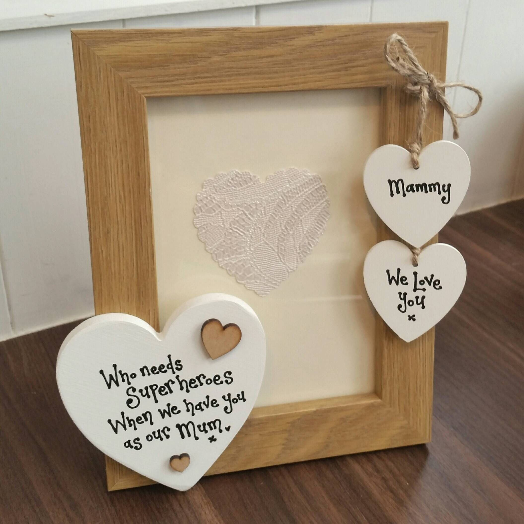 Super Hero Photo Frame With Hearts . Mum Gift . Dad Gift