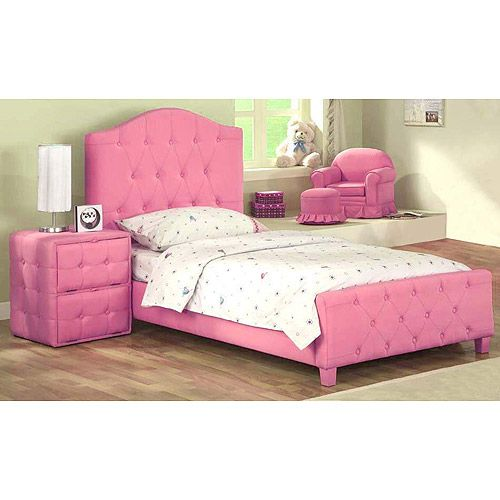 diva upholstered twin bed pink