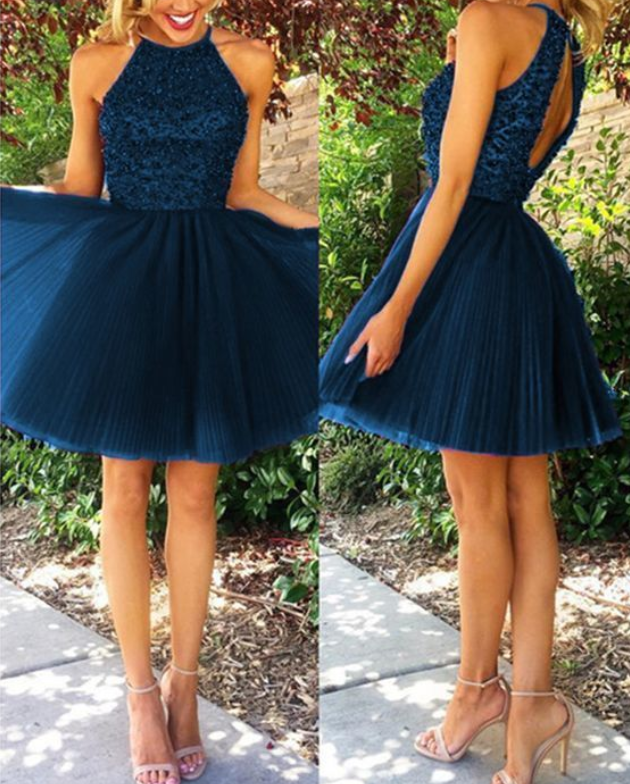 navy blue homecoming dresses short tulle prom backless dress