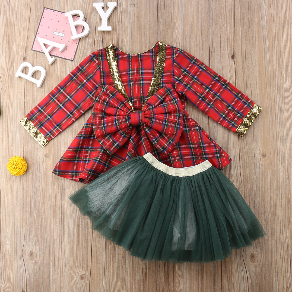 Kids Girls Plaid Bow-knot Princess Dress Baby Christmas Party Dresses Outfits