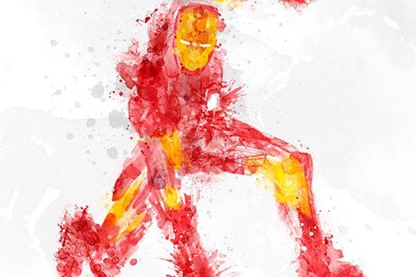 Les plus grands super-héros en éclaboussures de peinture